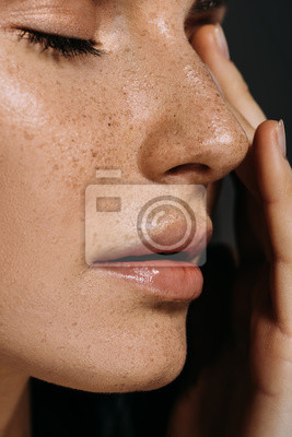 Papiers peints close up view of tender woman with freckles on face isolated on grey