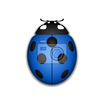 Coccinelle Symbole coccinelle petite icône. signe de bogue de dame bleue, isolé papier