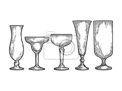 Cocktail glasses set sketch engraving vector illustration. Scratch board style imitation. Black and white hand drawn image.