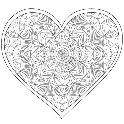 Coeur, amour mandala circulaire pour les adultes. conception papier ...