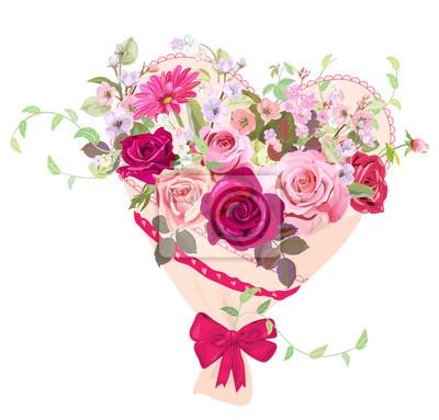 Papiers Peints Coeur Avec Bouquet De Fleurs Carte De Saint Valentin Roses