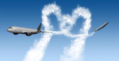 Papiers peints Coeur, forme, pistes, Avions, bleu