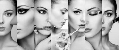 Papiers peints Collage de beauté. Visages de femmes. Photo de mode. Le maquilleur applique le rouge à lèvres et l'ombre à paupières. Femme, utilisation, parfum