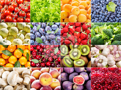 Collage de divers fruits et légumes