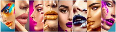 Papiers peints collage de maquillage. Beauté Idées artiste maquillage. lèvres colorées, les yeux, les fards à paupières et nail art