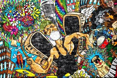Papiers peints Collage de musique sur un grand mur de briques, graffiti