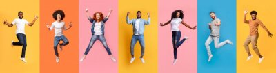 Papiers peints Collage of cheerful jumping multinational people in air on color background, panorama