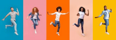 Papiers peints Collage of jumping multinational people on color background, panorama