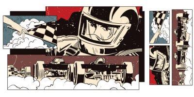 Papiers peints Collage sur le thème du sport et la course automobile.