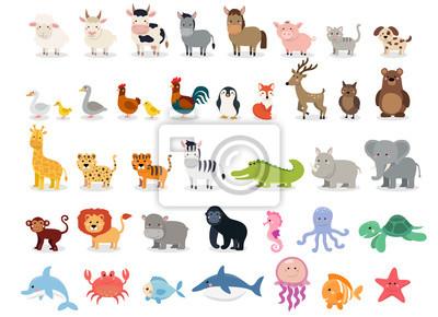 Papiers peints Collection d'animaux mignons: animaux de la ferme, animaux sauvages, animaux de la marina isolés sur fond blanc. Modèle de conception d'illustration