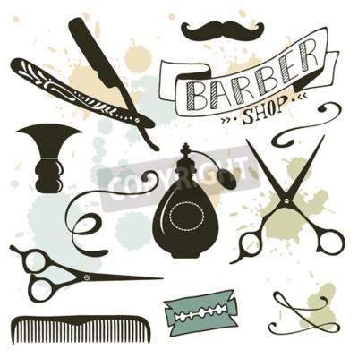 Papiers peints Collection d'objets de coiffure vintage. Illustration vectorielle