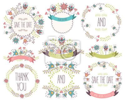 Collection de cadre floral. Fleurs de mariage, couronnes, rubans. Illustration vectorielle