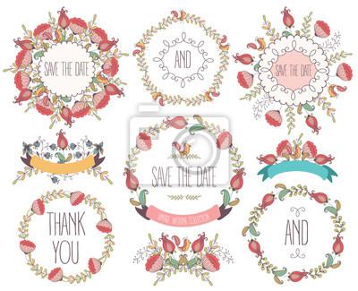 Collection de cadre floral. Fleurs de mariage, couronnes, rubans. Vecteur