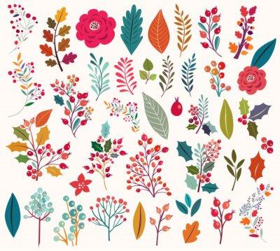 Papiers peints Collection de fleurs et de feuilles