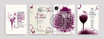 Papiers peints Collection de modèles avec des dessins de vin. Brochures, affiches, cartes d'invitation, bannières de promotion, menus. Fond de taches de vin.
