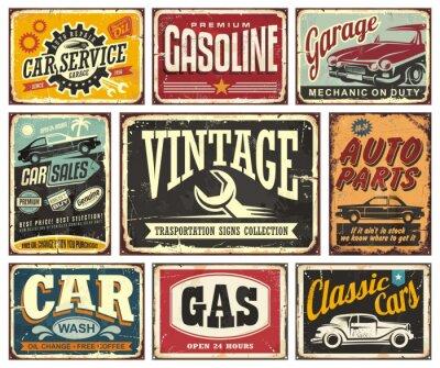 Papiers peints Collection de panneaux de transport vintage pour le service automobile