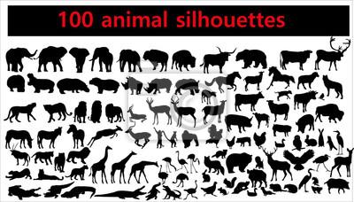 Papiers peints Collection de silhouettes d'animaux sur fond blanc