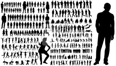Papiers peints Collection de silhouettes de personnes hommes et femmes