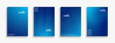 Papiers peints Collection of blue digital contemporary covers, templates, posters, placards, brochures, banners, flyers and etc. Abstract striped futuristic backgrounds with gradient. Halftone technology design