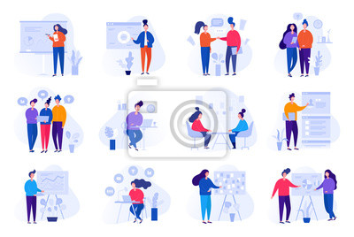 Papiers peints Collection of illustrations with people working in the office, making a presentation, negotiating and discussing business issues, developing ideas