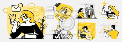 Papiers peints Collection of scenes at office. Bundle of men and women taking part in business meeting, negotiation, brainstorming, talking to each other. Outline vector illustration in cartoon style.