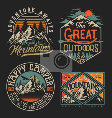 Papiers peints Collection of vintage explorer, wilderness, adventure, camping emblem graphics. Perfect for t-shirts, apparel and other merchandise