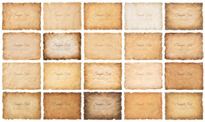 Papiers peints collection set old parchment paper sheet vintage aged or texture isolated on white background.