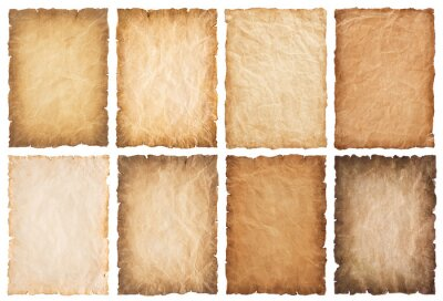 Papiers peints collection set old parchment paper sheet vintage aged or texture isolated on white background