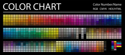 Papiers peints Color Chart. Print Test Page. Color Numbers or Names. RGB, CMYK, HEX HTML codes. Vector color palette.