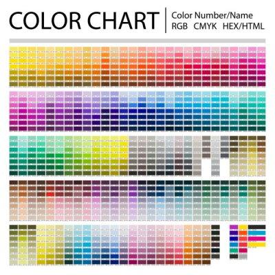 Papiers peints Color Chart. Print Test Page. Color Numbers or Names. RGB, CMYK, Pantone, HEX HTML codes. Vector color palette.