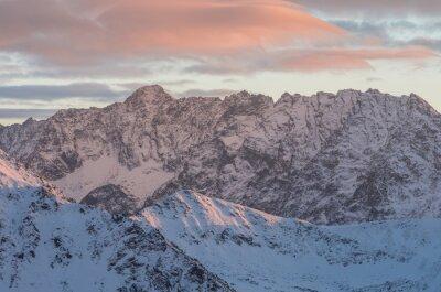 Papiers peints Coloré, montagne, coucher soleil, panorama, hiver, élevé, Tatras