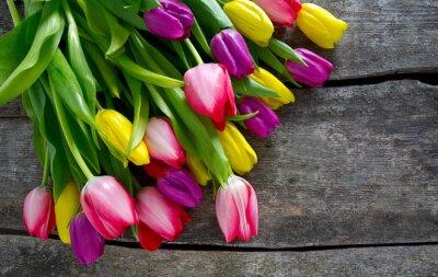 Papiers peints Coloré, tulipes, bois, surface