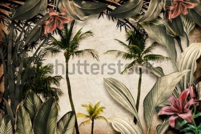 Papiers peints Colored Tropical Flowers wallpaper illustration