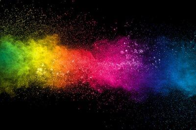 Papiers peints Colorful background of pastel powder explosion.Multi colored dust splash on black background.Painted Holi.