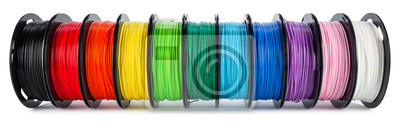 Papiers peints colorful bright wide panorama row of spool 3d printer filament