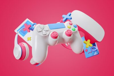 Papiers peints Colorful gamepad, headphones and game console hanging in the air on a pink background. 3d rendering.
