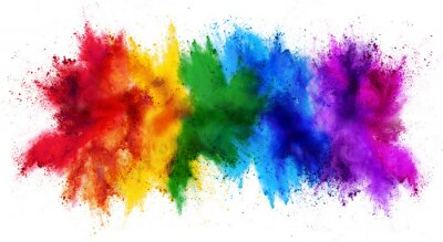 Papiers peints colorful rainbow holi paint color powder explosion isolated white wide panorama background