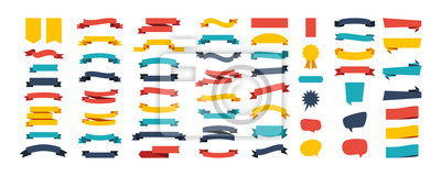 Papiers peints Colorful Vector Ribbon Banners. Set of Ribbons Banners with Label, Tag and Quality Badges. Banners set and colorful Ribbon, isolated on white background. Ribbon Banner in modern simple flat design