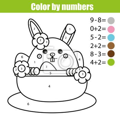 Coloriage Avec Personnage De Lapin De Paques Color By Numbers