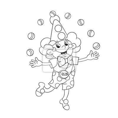 Coloriage Clown Hiver.Coloriage Contour De La Page Dun Clown Drole Jonglage Balles Papier