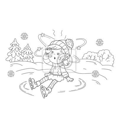 Coloriage Dessin Anime Fille.Coloriage Contour De La Page De Dessin Anime Patinage De Filles