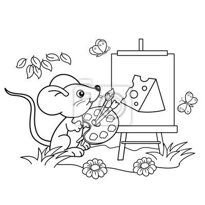 Papiers Peints Coloriage Contour De La Page De Dessin Animé Petite Souris Avec