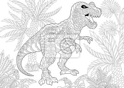 Coloriage Dinosaure Adulte.Coloriage De Dinosaure Tyrannosaurus T Rex De La Fin Du Cretace