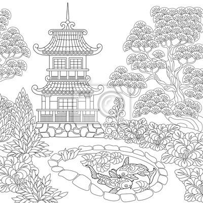 Coloriage du temple oriental. tour de pagode japonaise ou chinoise ...