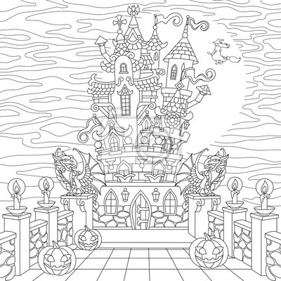 Coloriage Adulte Chateau.Coloriage Halloween Chateau Effrayant Citrouilles Dhalloween