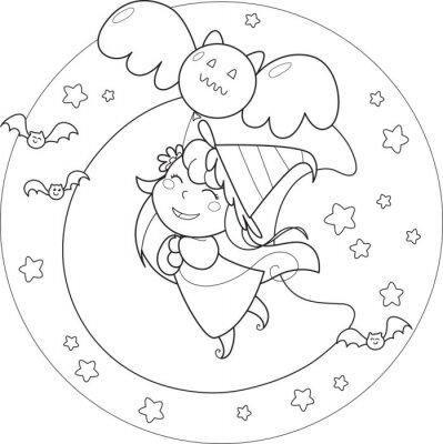 Papiers peints Coloriage Halloween sorcière volant avec ballon sous la moolight