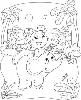 Papiers peints Coloriage illustration d'une jeune fille chevauchant un éléphant