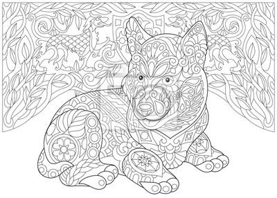 Coloriage Livre De Coloriage Pour Adultes Chiot Husky Sibérien