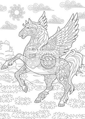 Coloriage De Cheval Avec Des Ailes.Coloriage Pour Livre De Coloriage Adulte Pegasus Cheval Aile