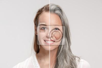 Papiers peints Comparaison. Portrait de belle femme avec problème et peau propre, vieillissement et concept de jeunesse, traitement de beauté et de levage. Avant et après le concept. Jeunesse, vieillesse. Processus